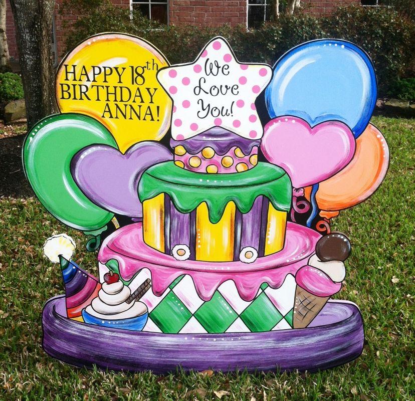 Cypress, Texas Birthday Lawn Sign Happy 18th, Anna