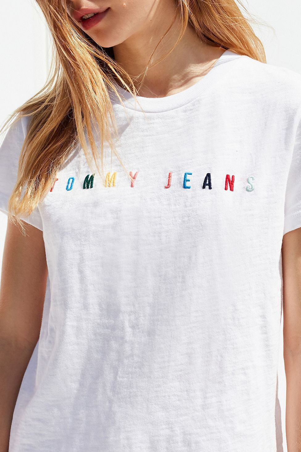 1938603902b31 Urban Outfitters Tommy Jeans Rainbow Logo Tee - White | Products ...