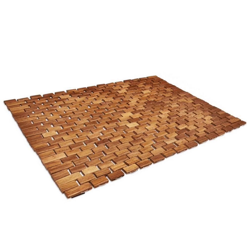 Folding Teak Bath Mat With Non Slip