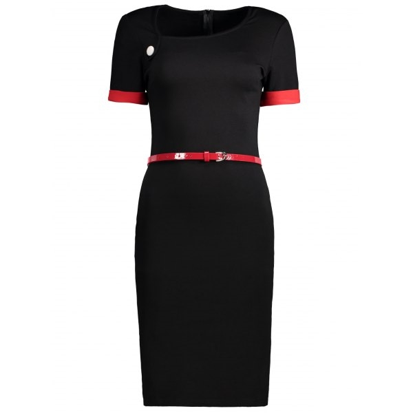 24.02$  Buy here - http://dijm6.justgood.pw/go.php?t=207640905 - Two Tone Belted Fitted Dress 24.02$