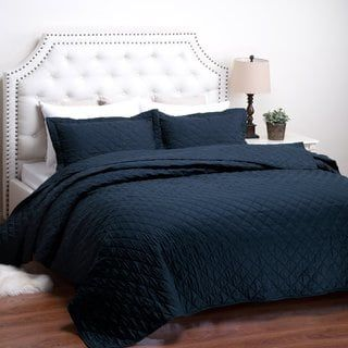 Bedsure Dominique Diamond Pattern Solid Textured Quilt Set With