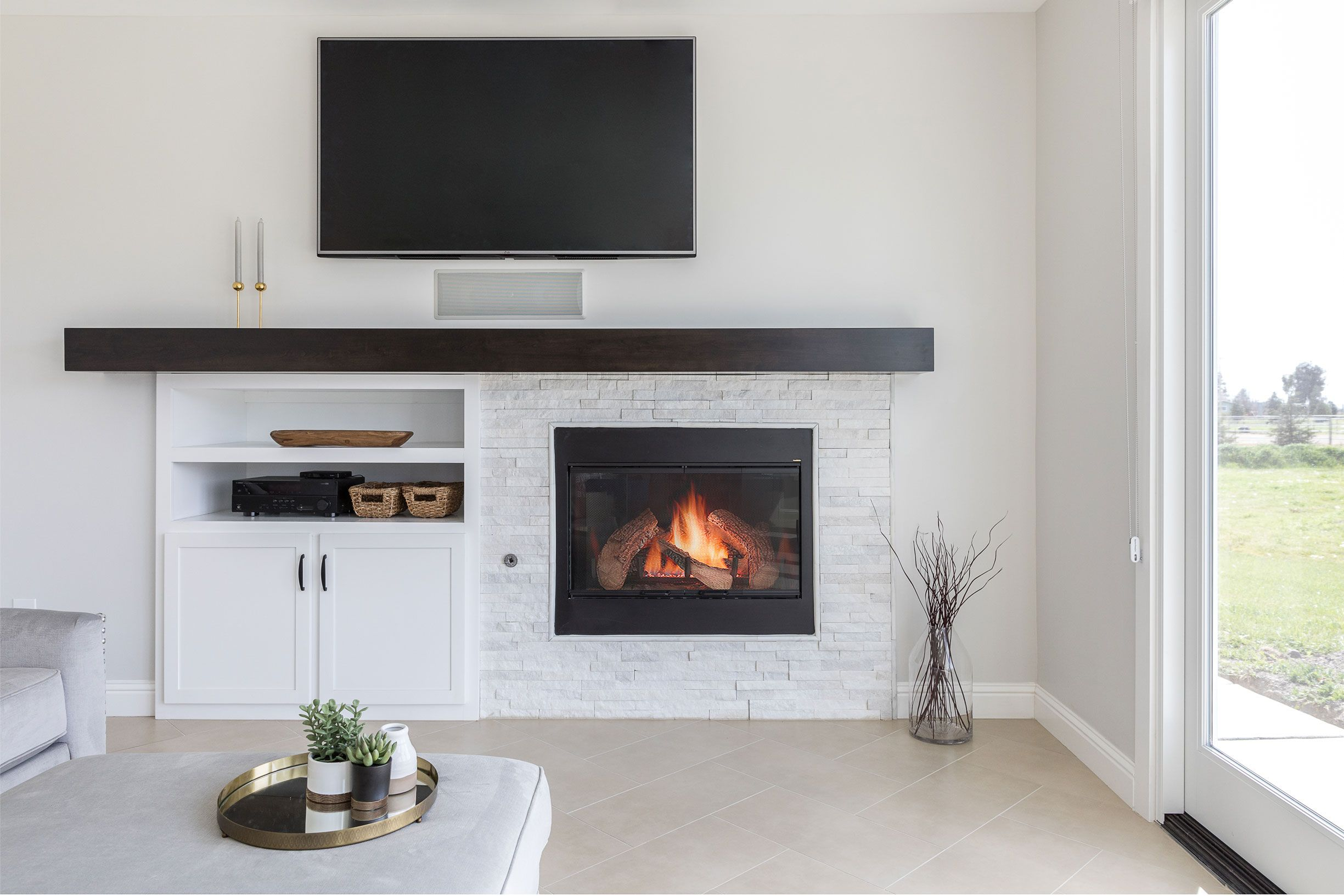 Built In Entertainment Center And Fireplace For A Modern Farmhouse Kitchen Remodel Design By Rebecca Ward Fireplace Remodel Kitchen Remodel Design White Bath