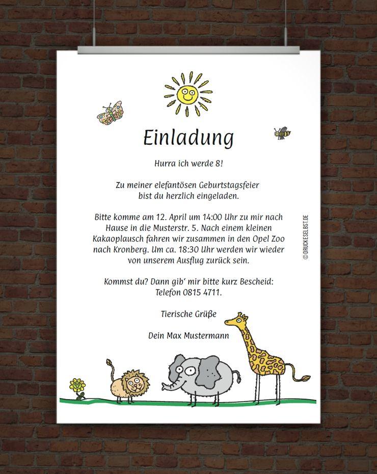 Lustige Kindergeburtstagseinladung Fur Einen Zoobesuch Einladung