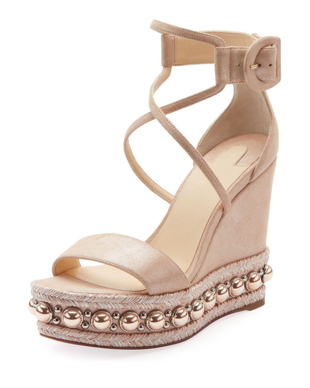 35f51c961c7a Chocazeppa Metallic Suede Wedge Red Sole Espadrille Sandals ...