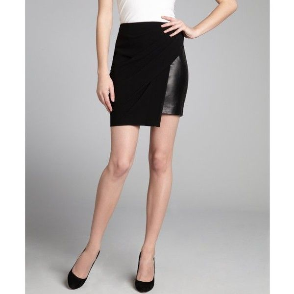 Alexander Wang Black leather and asymmetrical draped overlay skirt ...