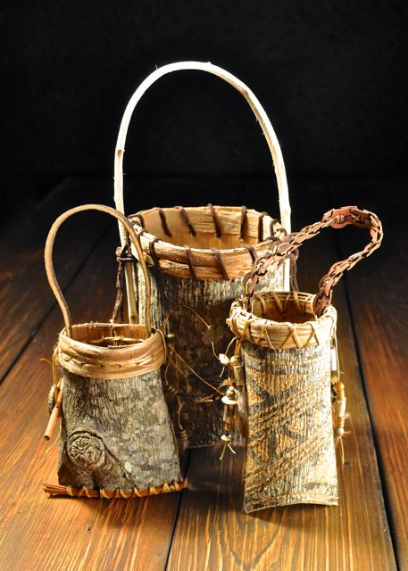 Hand crafted Appalachian Cherokee Poplar Bark baskets. Mark Hendry