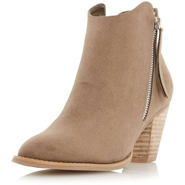 51aa29a2168 Dorothy Perkins **Head Over Heels Taupe Ankle Boots ($89) ❤ liked ...