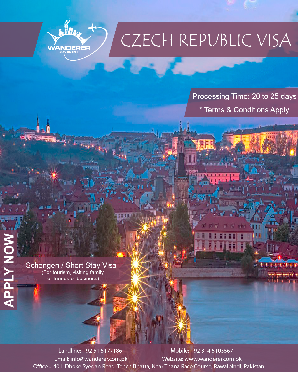 Apply Now For Czech Republic Schengen Short Stay Visa For The Purpose Of Tourism Visiting Family Or Friends Or Business In 2020 Tourism Travel Agency Czech Republic