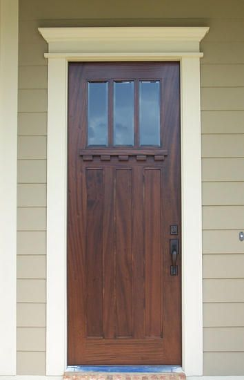 Custom Craftsman Three Lite Door Solid Wood Entry Craftsman