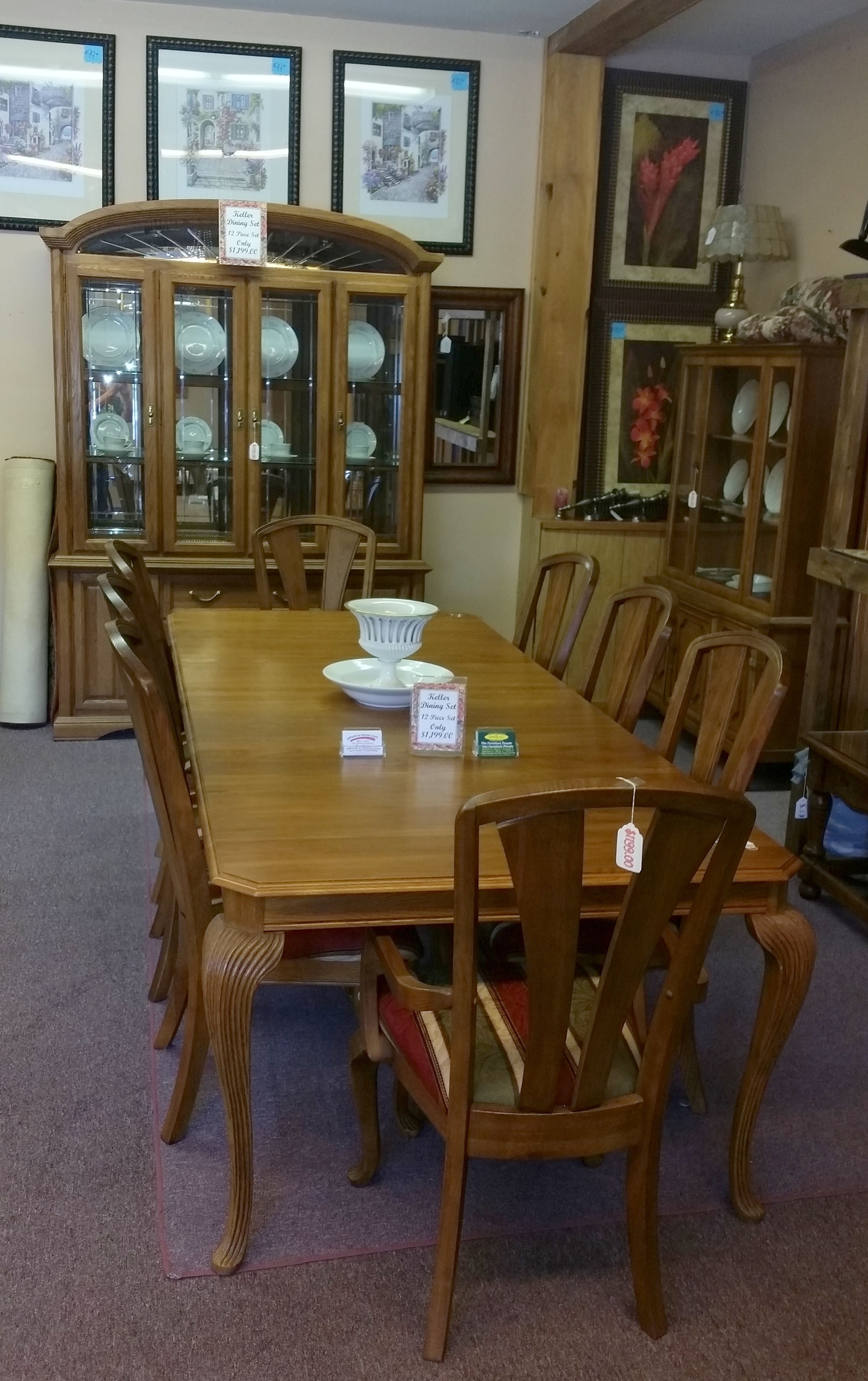 Charmant 12 Pc Keller Furniture Solid Oak Complete W/Hutch/Display $1199