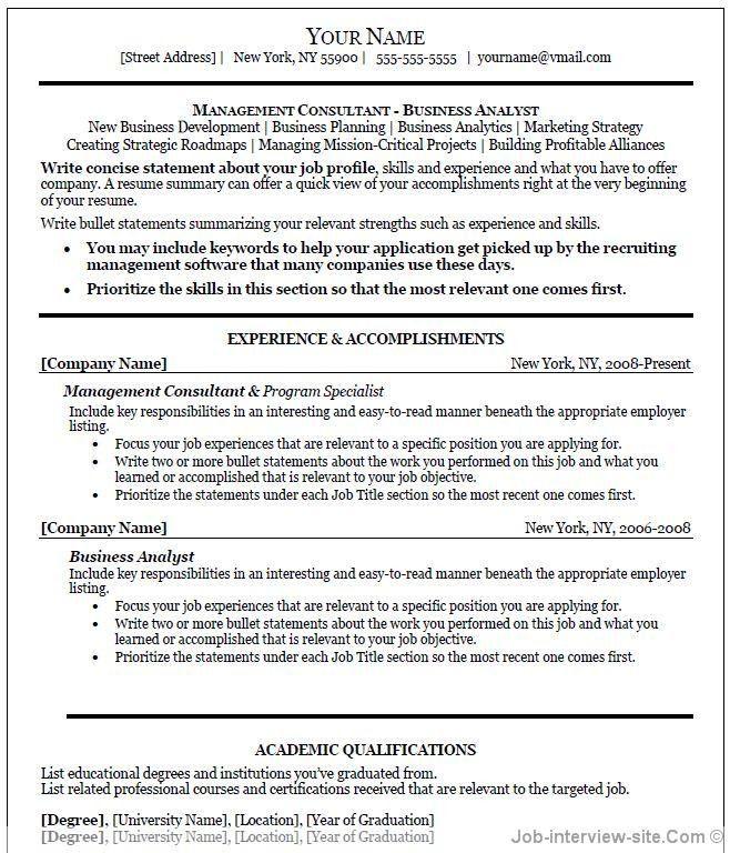 resume samples free