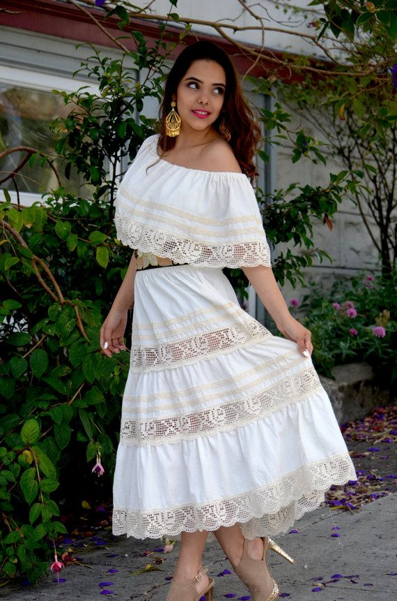 Lace Crochet embroidery cotton Mexican Wedding Dress GV
