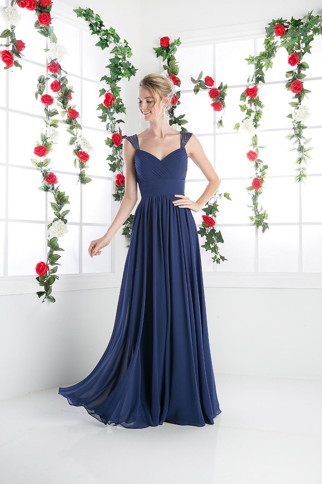 An elegant simple long bridesmaid dress features beaded sheer cap an elegant simple long bridesmaid dress features beaded sheer cap sleeves with shirred bodice and ombrellifo Image collections