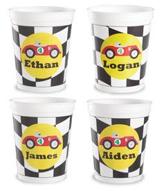 personalized racecar plastic cups (set of 12)