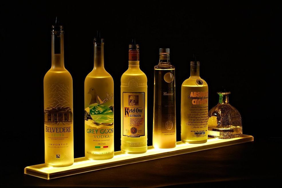 Home Bar Lighting - 2\' LED Lighted Liquor Bottle Display Shelf ...