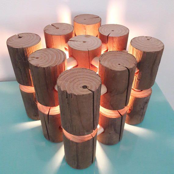 Handgemacht, Modern rustikal Stil Holz-Lampe - perfekt für einen - lampen fürs wohnzimmer