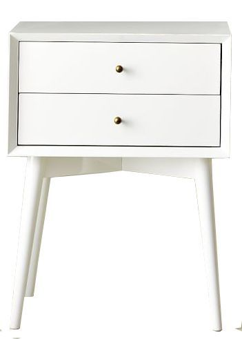 Best Mid Century Nightstand White Set Of 2 Standard 400 x 300