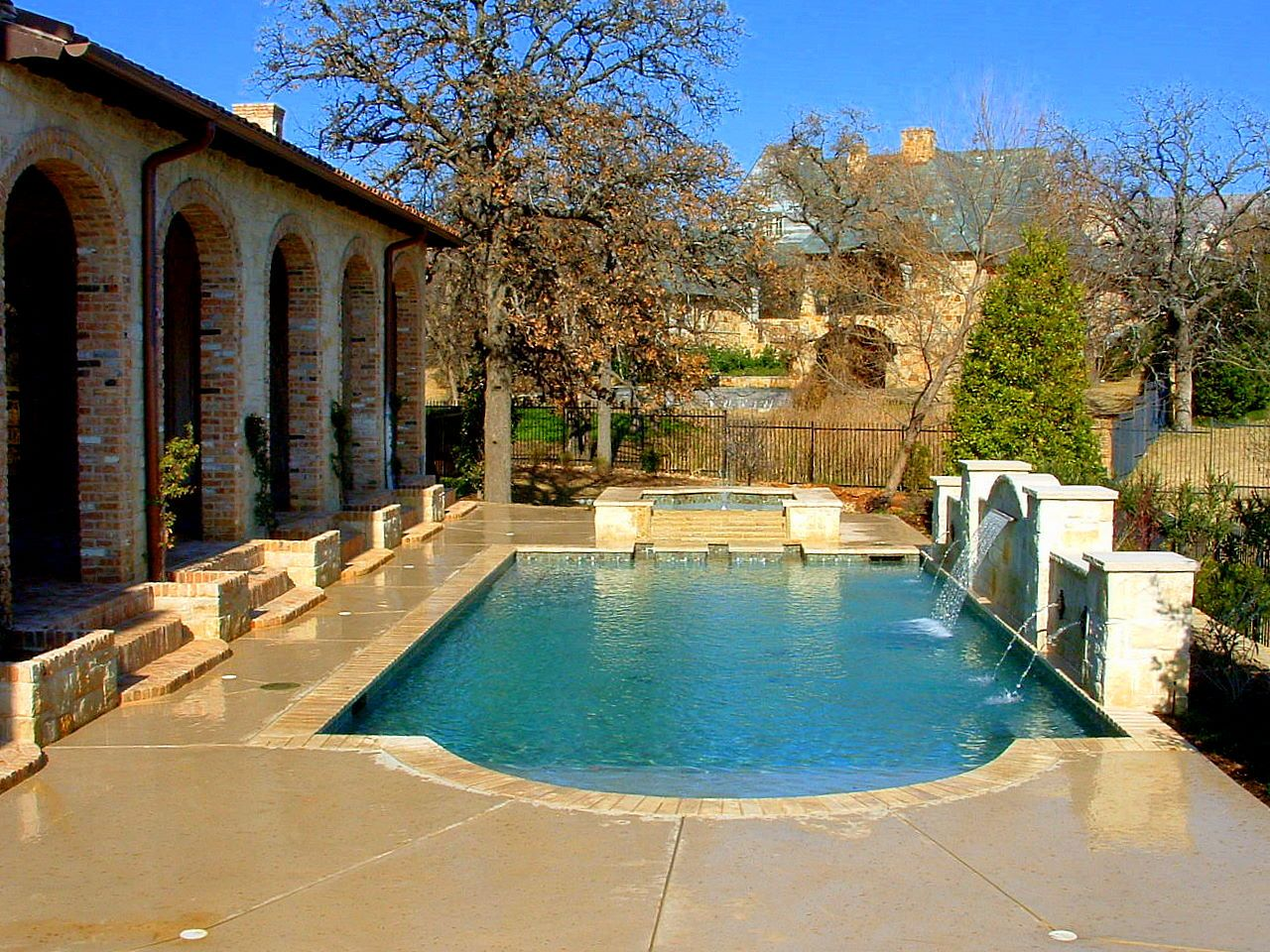 Formal Straight Swimming Pool Spa Custom Water Features