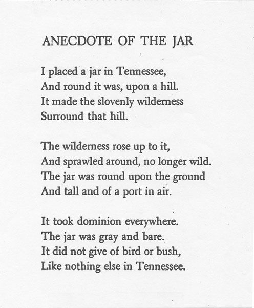 anecdote of the jar tone