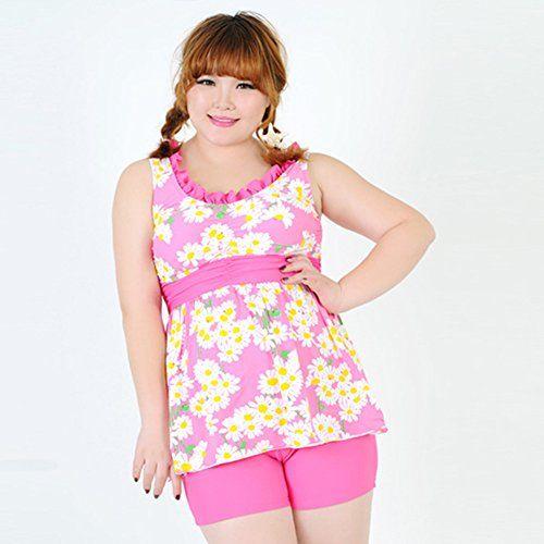 uhomedecor women's plus size swimsuits two-piece swimwear pink 2xl
