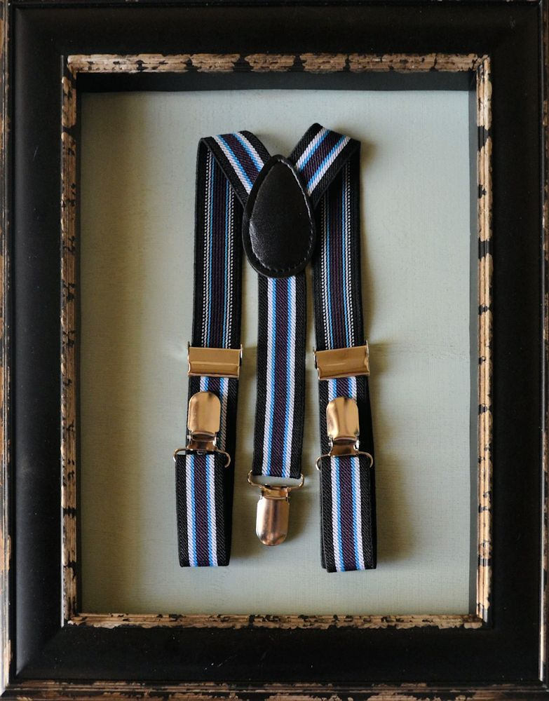 Boys Trouser Suspenders Black With Blue, White & Purple Stripe
