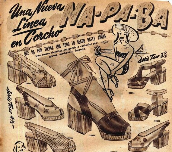 Cork Wedge Platform Shoe Ad  Para-Ti Magazine Hispanic Advertising Buenos Aires Argentina 1945