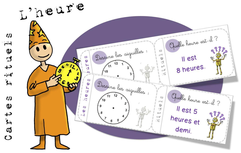 Cartes rituels : l'heure | Exercice ce1, L'heure et Exercice ce2