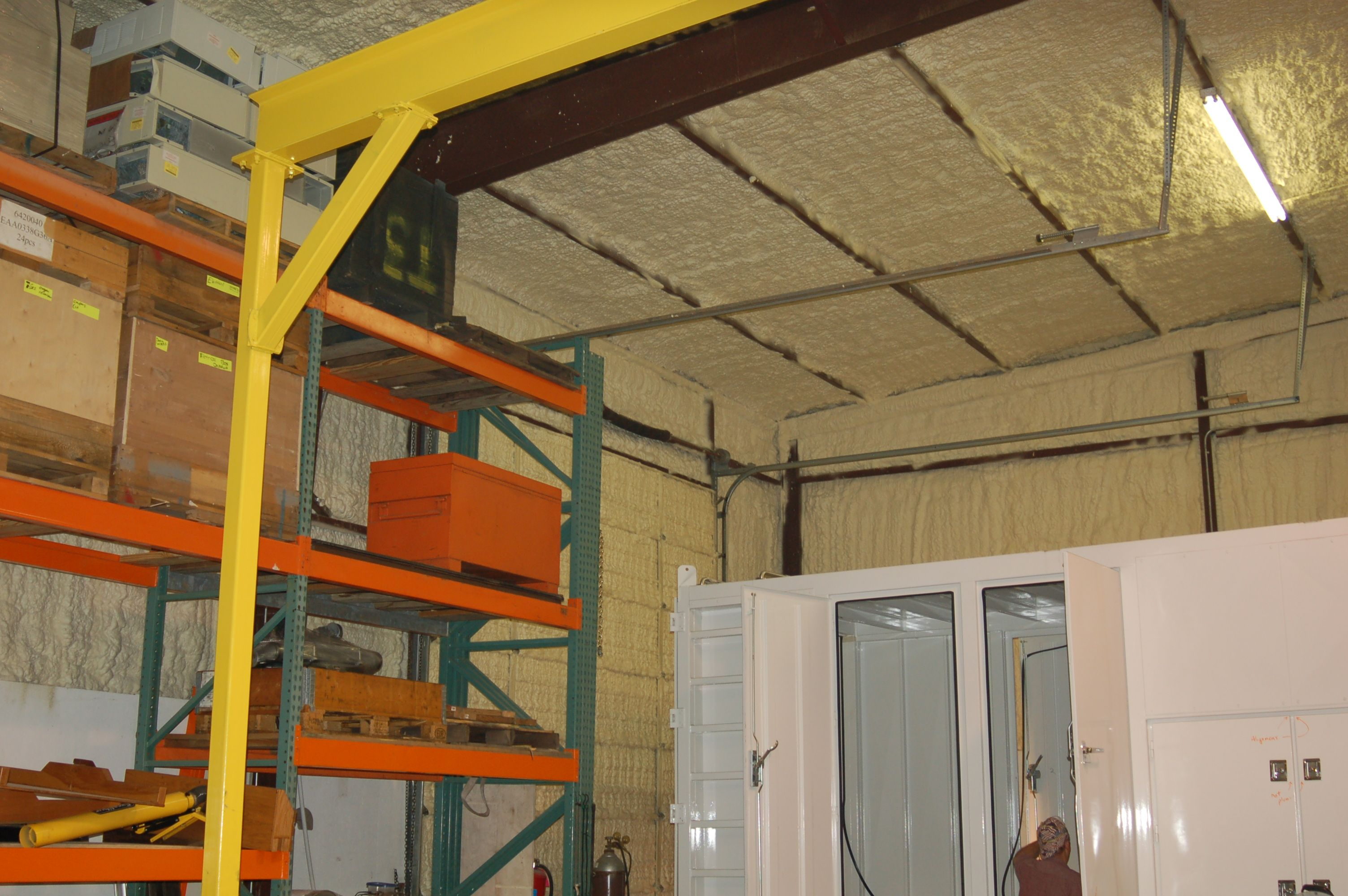Roof Walls Sprayed With Sealection 500 Foam Insulation Metal