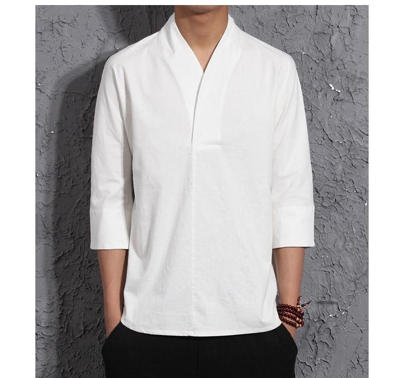 Retro Mens Shirts chinois Bouton Lin Kimono Rétro asymétrie Casual Blouse Tops