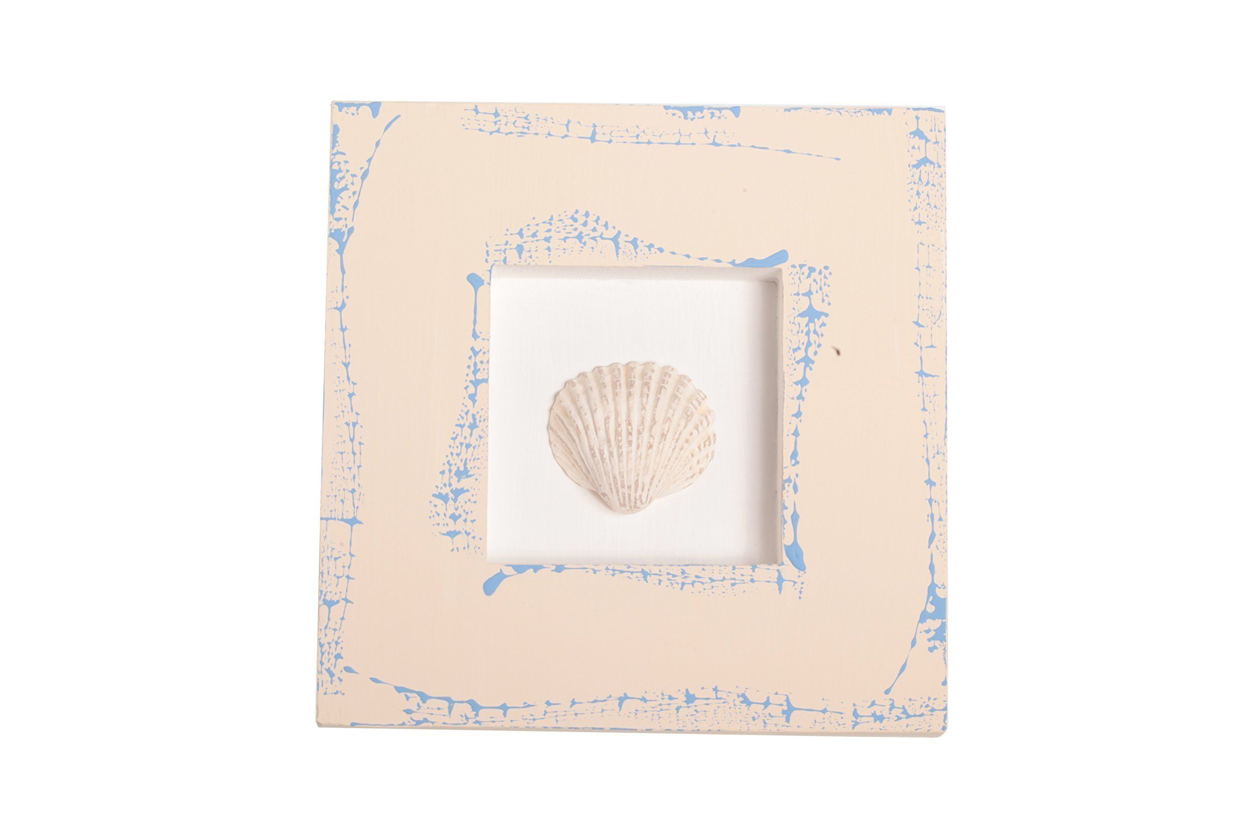 Sea Shell Wooden Artwork Wall Mounted Home Mediterranean Decor. SALE Small art composition from Mediterranean collection - Seashell. Wood frame with gypsum figure at center. Hand-painted makes the product unique and inimitable. Size: 6.3x6.3 inches (16x16 cm).