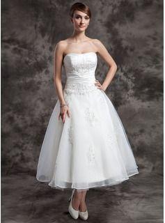74284c00a283 Bröllopsklänningar - $173.99 - A-linjeformat Hjärtformad Tea-lång  Organzapåse Bröllopsklänning med Rufsar Pärlbrodering