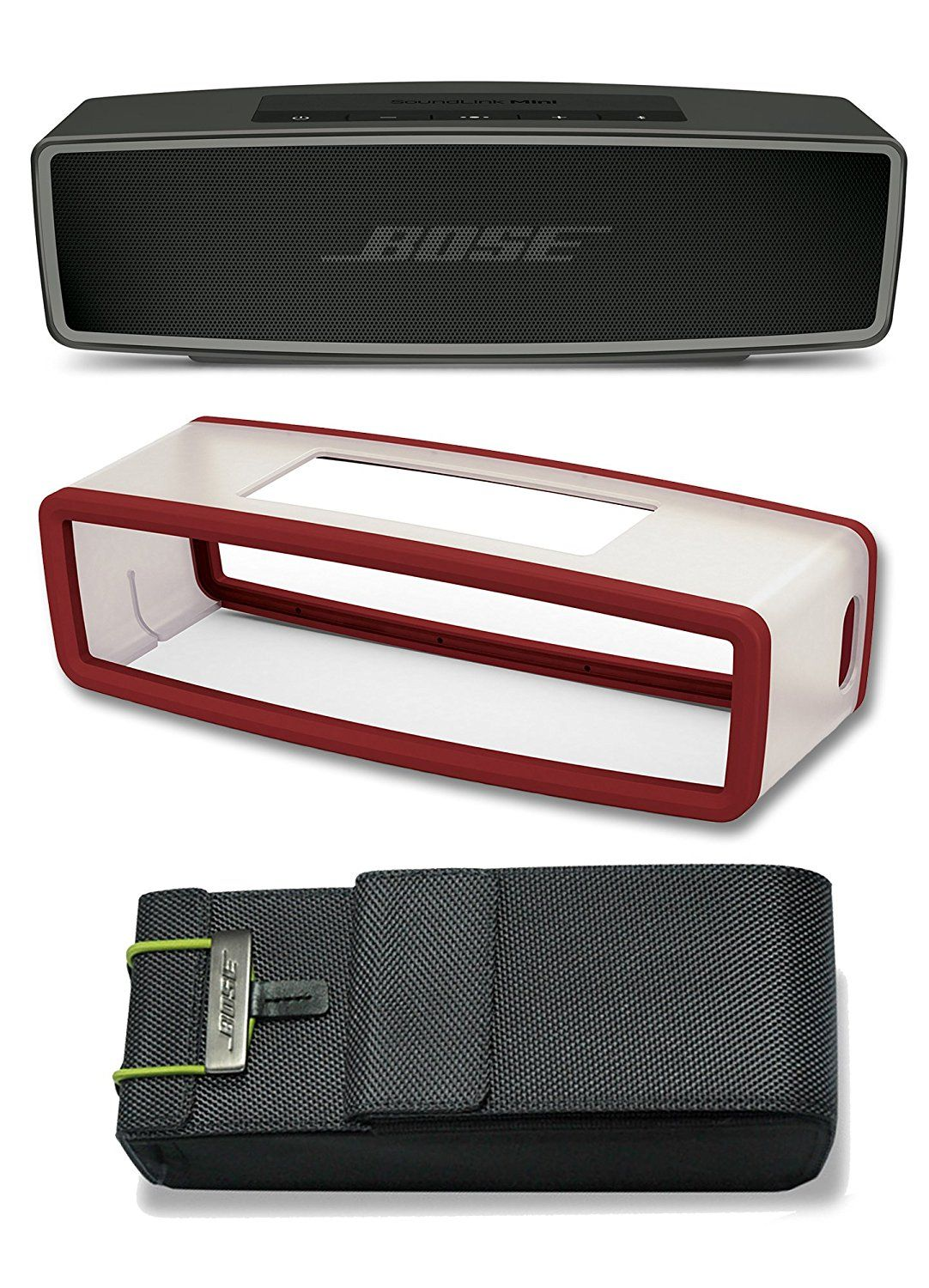 Bose Soundlink Mini Ii Carbon Bluetooth Speaker Bundle With Deep Red Travel Bag Cover And