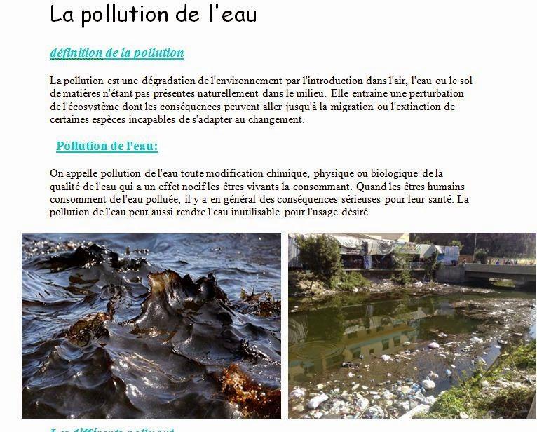 بحث جاهز حول تلوث المياه باللغة الفرنسية La Pollution De L Eau دزاير تويت Pollution Capture