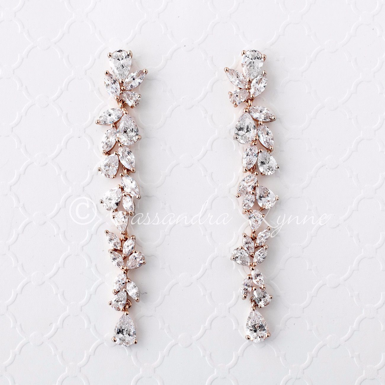 3dc5a8de4 Bridal Earrings of Teardrop and Marquise CZ in 2019 | Rose Gold ...