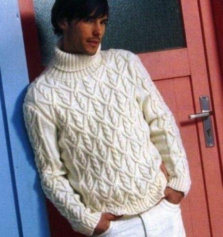 férfi csavart mintás kötött pulóver