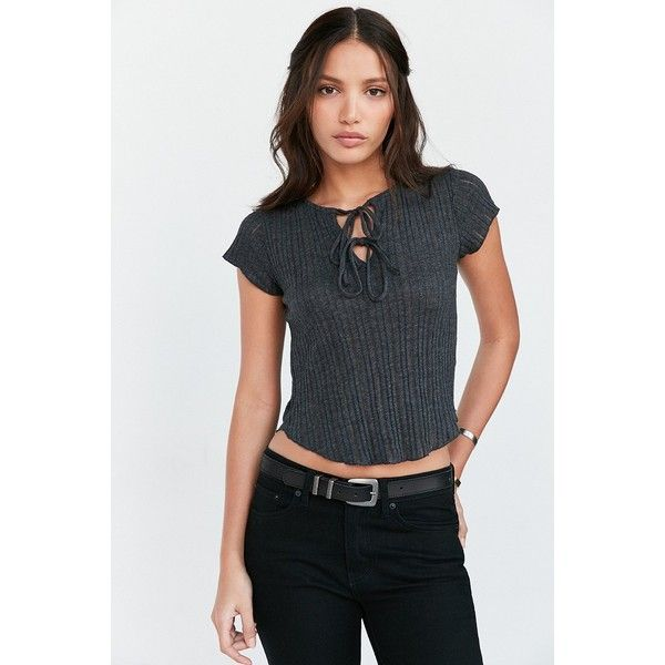 9ecc69e2ed67 Kimchi Blue Sally Ribbed Knit Lace-Up Tee ($34) ❤ liked on Polyvore  featuring tops, t-shirts, black, black tee, stretch t shirt, black t-shirt,  laced tops ...