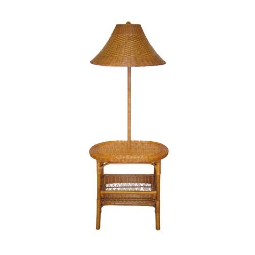 Tropical Wicker Light Tea Floor Lamp With Wicker Shade