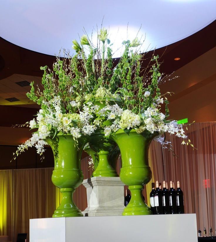 Large urn arrangement white lime wedding