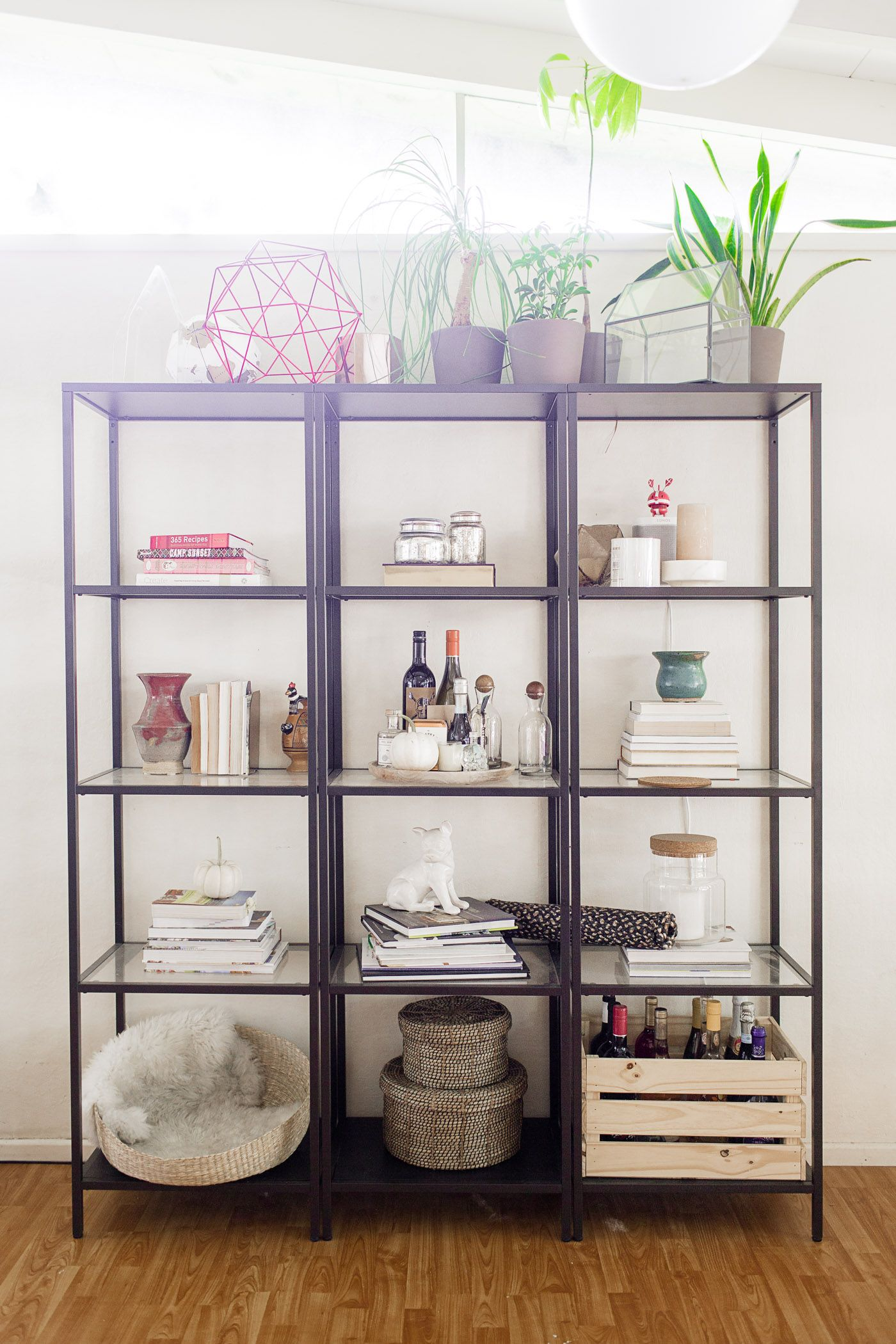 easy steps to style a shelf the before featuring my ikea vittsj shelves hearth home. Black Bedroom Furniture Sets. Home Design Ideas