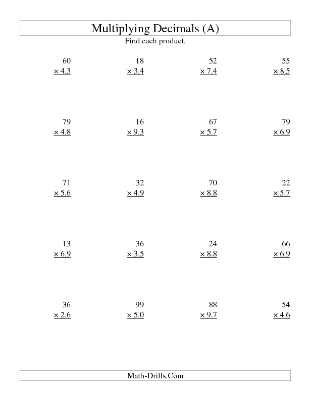 Multiplying Decimals Worksheet Two Digit Whole By Two