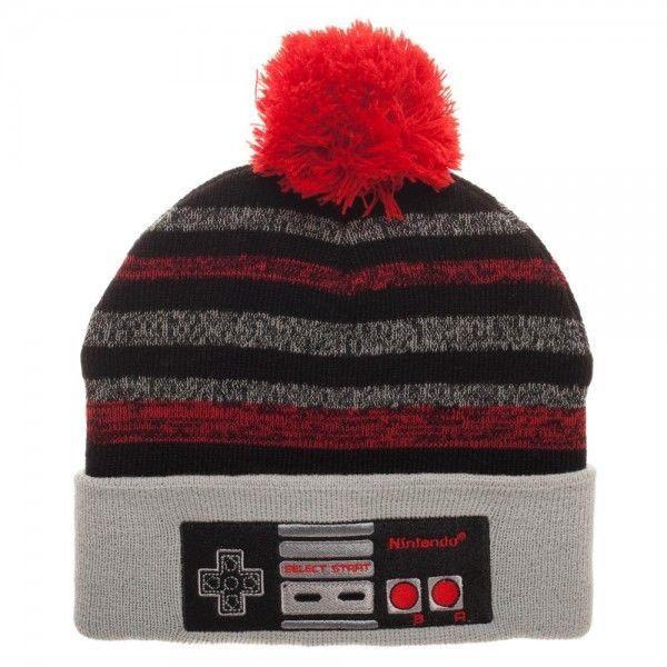 55259049a84 Nintendo Classic Controller Pom Beanie Winter Hat Cap Video Game Striped  NES NEW  Bioworld  Beanie