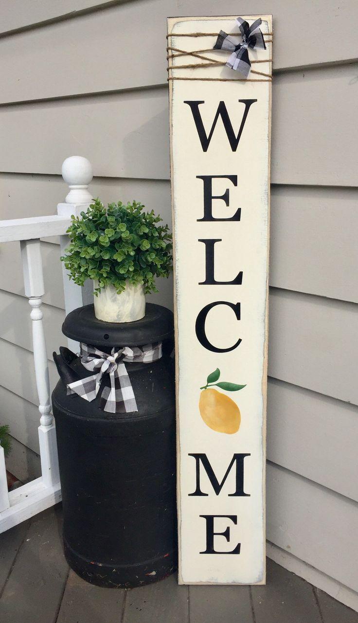 lemon welcome sign, lemon decor, sign with lemon, lemon porch sign, summer welcome sign