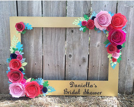 Gold Floral Frame Photo Booth Prop With 3d Flowers