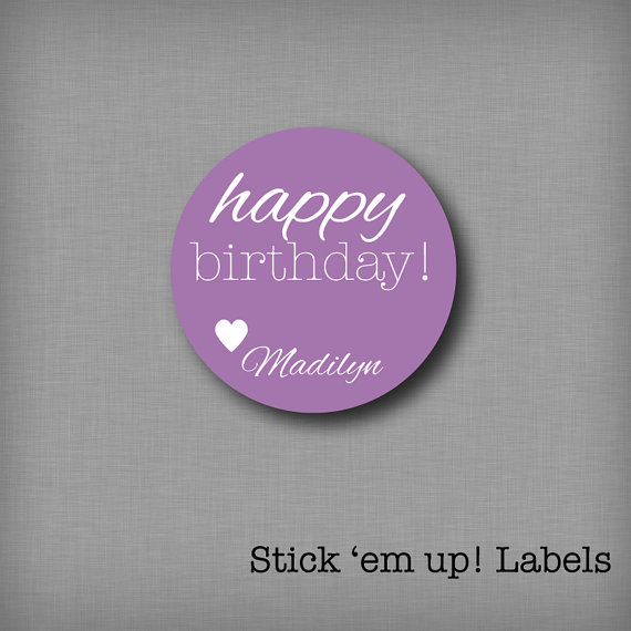 Custom Kids Birthday Tags Personalized Gift Stickers Present Labels Girls Purple Sticker