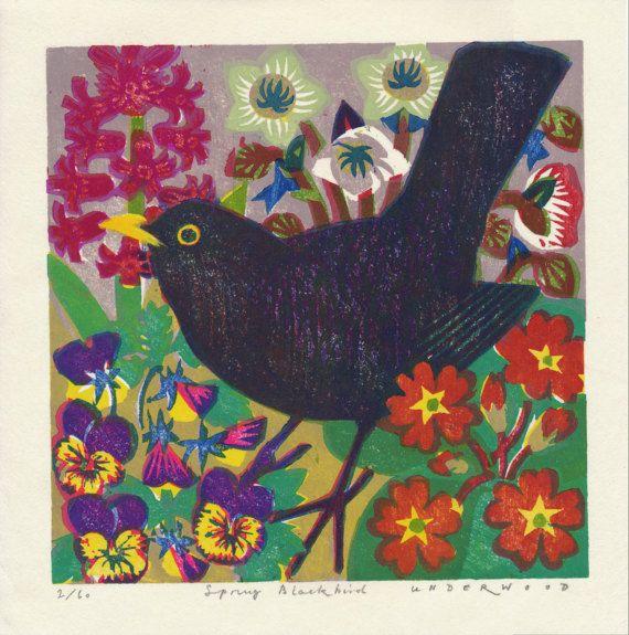 Spring Blackbird In 2020 Black Bird Card Art Prints