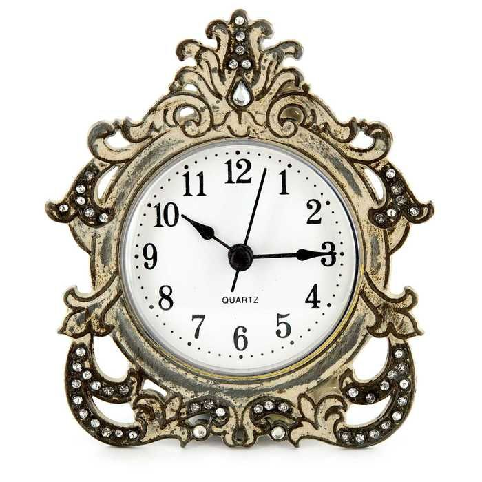 Antique Gray Decorative Table Clock  My New Living Room Interesting Small Wall Clock For Bathroom Design Inspiration