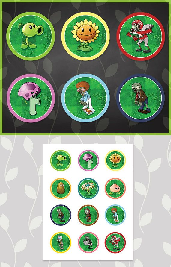 printable plants vs zombies cupcake toppers by apothecarytables pvz birthday party 2015. Black Bedroom Furniture Sets. Home Design Ideas