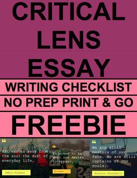 Critical Lens Essay Writing Checklist Guide & Rubric FREE: Writing ...