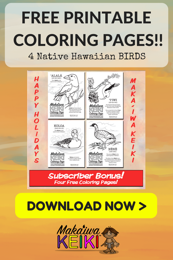 Learn About 4 Native Hawaiian BIRDS With These FREE Printable Coloring Pages For Keiki Of All