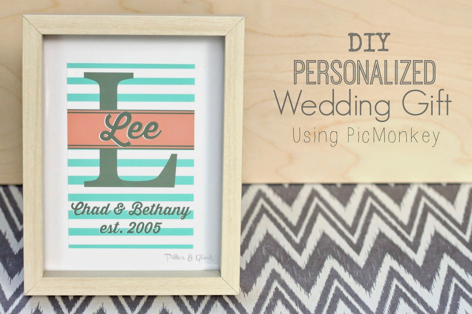Create an inexpensive, personalized wedding gift using PicMonkey, digital scrapbook paper, and an elegant frame (we can help with that one!).